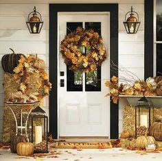 black paint and fall leaves for front door decoration