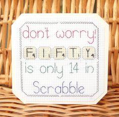 30th, 40th, 50th 60th 70th, 80th & 90th Scrabble Birthday Card⭐️Cross Stitch Kit