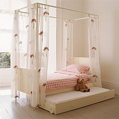 Elegant and simple 4 poster bed girls bed in soft white- great value at under £495 in Spring Sale with further 20% off
