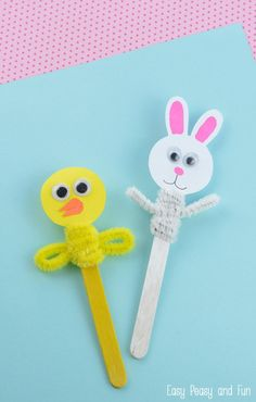 Easter Craft Stick Puppets - Chick and Bunny