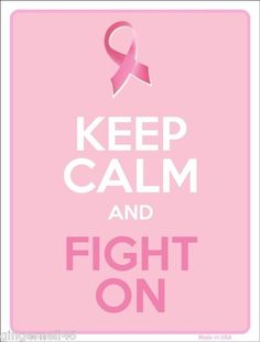 Keep Calm Fight On Breast Cancer Ribbon Metal Parking Sign Made n USA	 Listed for charity