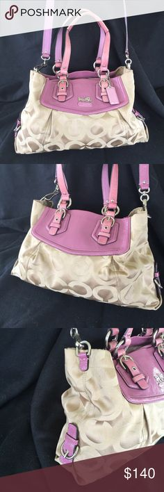 Authentic Coach Madison Opt Art Beautiful Authentic Coach Madison Op Art Signature Sateen Carryall in Lilac . Excellent condition.. I can find no flaws on this bag 💃🏽 This bag was professionally Authenticated by the licensed experts at Authenticators R Us LLC , and comes with a certificate of Authenticity.  Buy With Confidence 💃🏽 Coach Bags Satchels