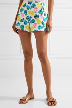 Draper James | Printed cotton-blend shorts | NET-A-PORTER.COM