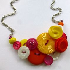 Bright Funky Yellow, White, Pink, and Orange Vintage Button Statement Necklace by buttonsoupjewelry, $32.50