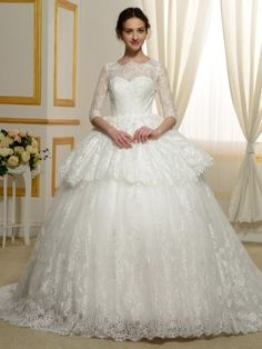 3/4 Length Sleeve Lace Tiered Ball Gown Tulle Designer Wedding Dress & simple Wedding Dresses