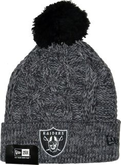 sale retailer 6b3e0 d3ad0 Oakland Raiders New Era NFL Team Bobble Hat. Graphite Grey cable knit with  the Team