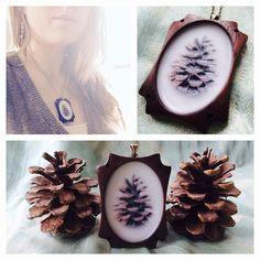 Encaustic pine cone pendant necklace. Nadia Alenov