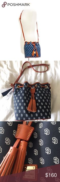 "🆕Listing Authentic DB San Diego Kendall Crossbody Authentic Dooney and Bourke MLB San Diego Padres Kendall Crossbody. Perfect Christmas gift for the San Diego lover! H 9.5"" x W 6.25"" x L 9.25"" One inside zip pocket. Cell phone pocket. Inside key hook. Adjustable strap. Strap drop length 25"". Lined. Feet. Drawstring. Dooney & Bourke Bags Crossbody Bags"