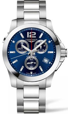 Longines Watch Conquest #bezel-fixed #bracelet-strap-steel #brand-longines…