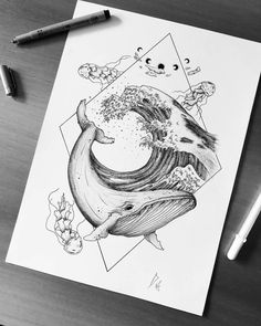 Fineliner Ink and Pencil Animal Drawings - - Whale Sketch, Whale Drawing, Pencil Art Drawings, Cute Drawings, Animal Drawings, Tattoo Sketches, Tattoo Drawings, Drawing Sketches, Blackwork