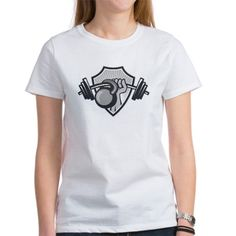 Hand Lifting Barbell Kettlebell Crest Grayscale T-
