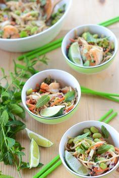 Peanut Noodles with Edamame & Shrimp   Camille Styles