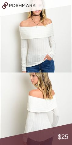 Coming soon! ✨ This ivory ribbed off the should top is perfect for any occasion. Looks great paired with jeans or a pencil skirt!   Fabric Content: 96% POLYESTER 4% SPANDEX  Size Scale: S-M-L  🚫Trades ✅ Receive 20% off when you purchase bundles of 2 or more items! Tops