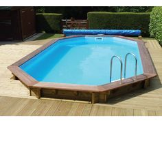 Wooden semi inground swimming pool