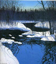 Cerfs Unyarded, huile sur toile de Neil Gavin Welliver (1929-2005, United States)