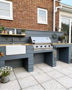 Outdoor Bbq Kitchen, Outdoor Oven, Outdoor Kitchen Design, Kitchen Decor, Outdoor Grill Area, Outdoor Kitchens, Outdoor Grill Station, Outdoor Barbeque, Outdoor Cooking Area