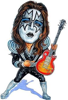 Caricature of Ace Frehley from Kiss Funny Caricatures, Celebrity Caricatures, Cartoon Faces, Funny Faces, Heavy Metal, Famous Guitars, Kiss Art, Hot Band, Ace Frehley