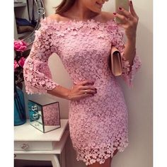 Sexy Slash Collar 3/4 Sleeve Solid Color Lace Women's Dress