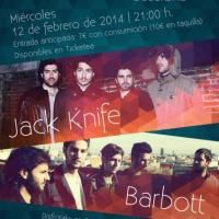 concierto NOISE OFF CLUB SESSIONS: JACK KNIFE + Barbott 12 de Febrero de 2014 a las 21:00 Sala Siroco, Madrid