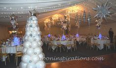 Winter wonderland party decorations, themed Christmas party | ballooninspirations.com
