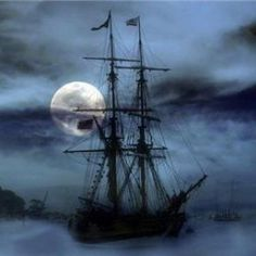 Image discovered by tttttara. Find images and videos about boat, ship and moonlight on We Heart It - the app to get lost in what you love. Dream Fantasy, Moon Pictures, Pirate Life, Tall Ships, Stars And Moon, Sun Moon, Sailboat, Dark Side, Sailing Ships