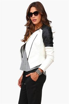Labor Day Leather Jacket in Black/White