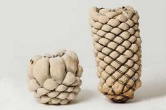 To make these fantastic objects, the young designer first crafted macramé containers using a heat-proof tough string. Then she mixed and rolled the sand, water and earth with flour, which helps bind everything together, and wrapped the string basket with the dough. Lastly, she baked her creations in the oven for a few minutes.
