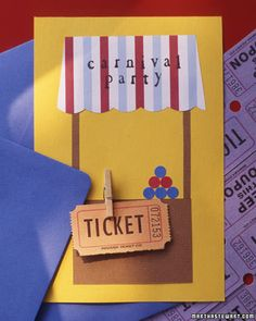 A carnival-booth invitation is made with striped wrapping paper, construction paper, round stickers, tiny clothespins, and tickets. Party details are written on the back.