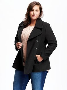 Plus Size Wool-Blend Peacoat