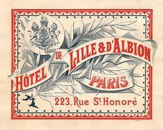 / hotel de lille & d'albion / paris / Illustration Paris, Illustration Vector, Illustrations, Graphic Design Illustration, Vintage Logo, Vintage Typography, Vintage Design, Luggage Stickers, Luggage Labels
