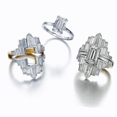 """The New York Party Jacket ring set by Jessica McCormack includes an emerald-cut diamond solitaire and a detachable white and yellow gold """"jacket"""" with baguette-cut diamonds. Emerald Cut Rings, Emerald Cut Diamonds, Diamond Rings, Diamond Engagement Rings, Diamond Jewelry, Jewelry For Her, Jewelry Rings, Fine Jewelry, Jewelry Box"""
