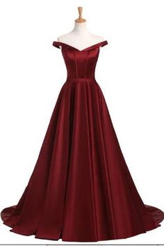 Elegant Off the Shoulder A Line Burgundy Cheap Prom Dresses Evening Gown Party Dress LD933