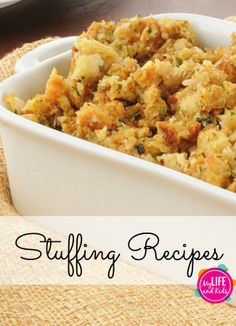 Looking for the perfect stuffing recipe? We've got you covered. From basic to brie – here are 20 Thanksgiving stuffing recipes you'll want to try today! @My Life and Kids Stuffing Recipes For Thanksgiving, Thanksgiving Feast, Hosting Thanksgiving, Holiday Recipes, Recipe For Stuffing, Halloween, Dessert, Relleno, Holiday Dinner