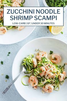 Fresh and juicy Shrimp Scampi on perfectly sautéed Zucchini Noodles makes for a super healthy dinner! Quick and easy to prepare in just 20 minutes using common ingredients- butter, lemon, garlic, shrimp and zucchini! #glutenfreerecipes #lowcarbrecipes #pescatarianrecipes #healthymeals #lowcarbshrimpscampi #glutenfreeshrimpscampi #shrimpscampi #zucchininoodles #zoodles #quickandeasyrecipes