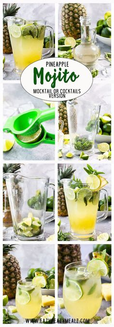 Pineapple mojito, a fun twist on a classic mojito. Easy to make and oh so delicious. You can make it a virgin drink, or use the alcohol. Either way it tastes great. Refreshing Drinks, Summer Drinks, Cocktail Drinks, Cocktail Recipes, Mojito Mocktail, Tiramisu Mojito, Tartelette Mojito, Best Nutrition Food, Healthy Food