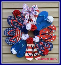 A Day In The Life with tj: DIY: Dollar Store Patriotic Flip Flop Wreath Tutorial