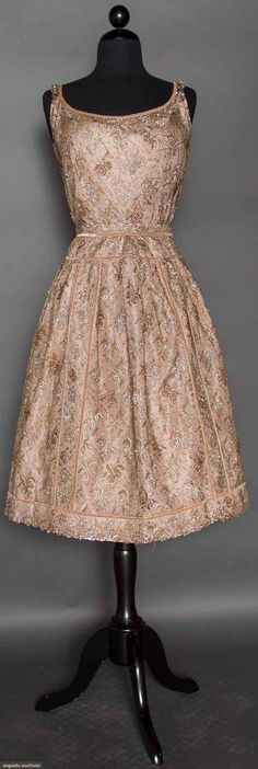 """GOLD LACE & SEQUIN EVENING DRESS, 1950s 2 piece orchid silk, covered w/ gold lace & irridescent sequins, shell bodice, B 36"""", W 26"""", Skirt L 27"""", unlabeled, Franco Bertoli, Milano"""