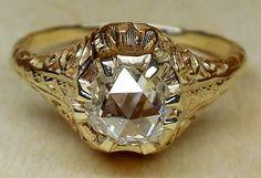 Antique Vintage 6mm Dutch Rose Cut Diamond 14k Yellow Gold Engagement Ring 1920 Art Deco by DiamondAddiction on Etsy https://www.etsy.com/listing/209094690/antique-vintage-6mm-dutch-rose-cut