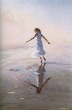 The wondor and joy of life! Girl skipping through the water at the beach. Steve Hanks Paintings