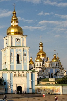 the bell tower and the reconstructed monastery of Saint Michael, Kiev, Ukraine.  Photo: aniarenia, via Flickr