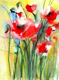 "Saatchi Online Artist: Karin Johannesson; Watercolor 2013 Painting ""Poppies II"""
