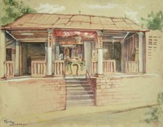 Goh Ee Choo- early Bukit Timah temple in Singapore, 1980 pencil on paper