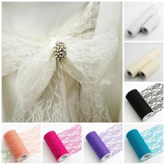 Lace Net on a Roll Wedding Chair Ties Sash Floral Venue Table Pew Balloon Decor