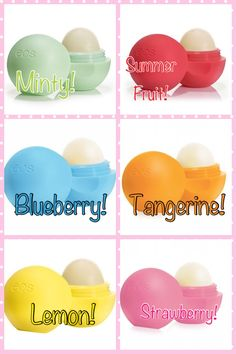 EOS Lip Balm! I need all of these! They make a great base for lipstick and lipgloss!