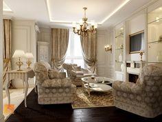 Интерьер зоны гостиной в классическом стиле