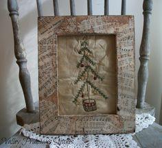 Primitive Christmas Tree Framed Stitchery Hand by valleyprimitives, $13.95