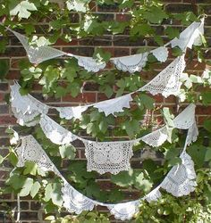 VIintage  Doily  Bunting Garland  Shades of Cream Wedding  Romance Garden Pavilion  23 feet. via Etsy.