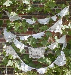 VIintage  Doily  Bunting Garland  Shades of Cream Wedding  Romance Garden Pavilion  23 feet. via Etsy.