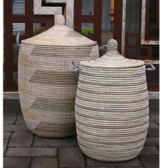 Woven African Laundry Clothes Hamper - Grey & Yellow - Large