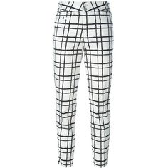 Steffen Schraut Check Print Cropped Trousers (€185) ❤ liked on Polyvore featuring pants, capris, white, cropped capri pants, checked pants, white crop pants, white pants and cropped pants